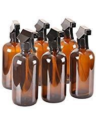 Lot de 6 flacons en verre ambré avec capuchons - Récipient rechargeable pour huiles essentielles, produits de nettoyage, ou aromathérapie - Pulvérisateur noir durable avec réglages de brume et de flux