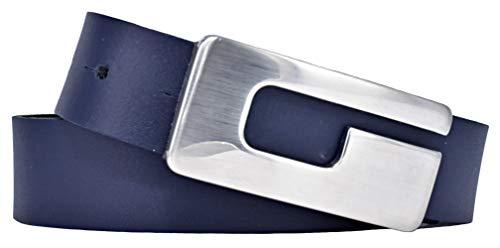 Bernd Götz Damen Leder Gürtel 30 mm marine Rindleder Koppelgürtel (80 cm) -