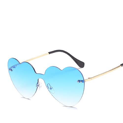 YUHANGH Herz-Sonnenbrille-Frauen-Liebes-Rahmen Klare Transparente Sonnenbrille-Farbton Randlose Weinlese-Gläser