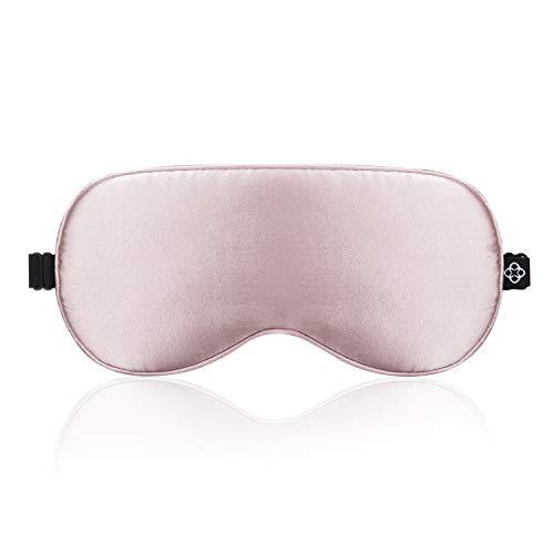 LONFROTE Seide Schlaf Schlafbrille Augenmask Schlafmaske mit Ohrstöpsel und Tragetasche, Leicht & Bequem und Verstellbar, Super Weiches Material für Herren und Frauen Reisen Funktioniert(Rosa)