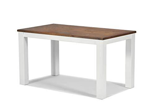 Esstisch ,,Rio Landhaus,, 140x80cm Pinie Massivholz, Tischplatte leicht gebürstet, Farbton: Weiss / Kolonial Zimt, Optional erhältlich: passende Bänke und