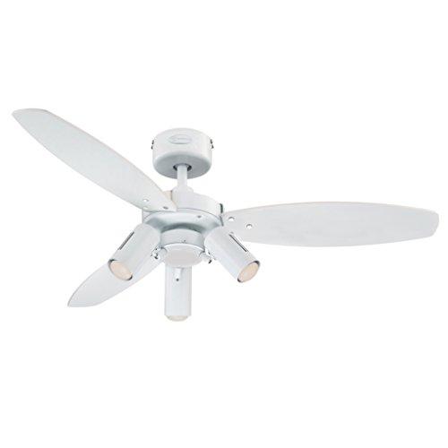 Westinghouse 7870340 ventilatore da soffitto jet plus per interni con faretto, finitura, pale in bianco/acero chiaro