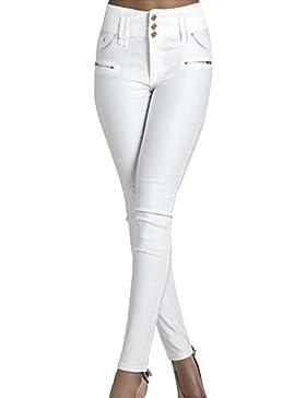 Donne Elasticità Sottili Casuali dei Accogliente Pantaloni Bianco XS