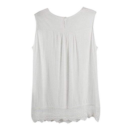 Preisvergleich Produktbild Damen Shirt,ABsolute Frauen Drucken Ärmellose Hemden Bluse Casual Streifen Tank Tops T-Shirt Chiffon Sommer Weste Top Shirt Spitze Tanktop (L, Weiß)