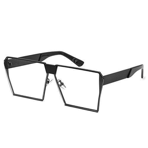 AMZTM Platz Verspiegelt Linsen überdimensioniert Polarisiert Orange Metall Sonnenbrille für Damen und Herren (schwarz klar, 63)