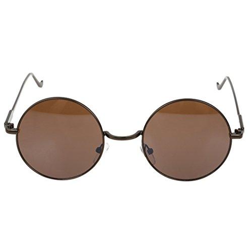 YaNanHome Sonnenbrillen Brillen & Zubehör Vintage Runde Sonnenbrille europäischen Stil Männer und Frauen Flut Gesicht Sonnenbrille (Color : Brown)