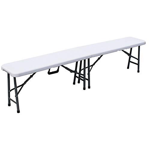 KROLLMANN faltbare Sitzbank in Weiß, klappbarer Bank für Camping, Klappbank für Feste, Camping und Zelten, Maße: 183 x 30 x 44 cm