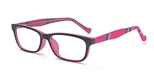 ALWAYSUV Frauen Klare Linse Rechteckig Modische Rahmen mit Streifen-Print Brillenfassung Rosa