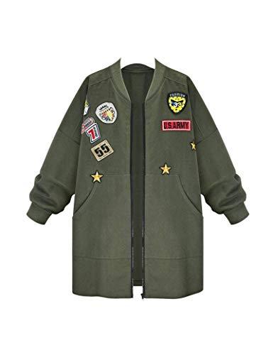 HX fashion Damen Outerwear Herbst Winter Locker Casual Warm Classic Bomberjacke Langarm Stehkragen Mit Abzeichen Lang Mantel Coat Jacken...