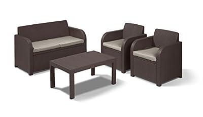 Allibert by Keter Carolina 4 Seater Lounge Set Outdoor Garden Furniture