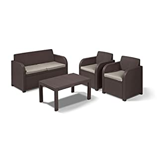 Keter Carolina Outdoor 4 Seater Rattan Lounge Table Garden Furniture Set - Brown with Taupe Cushions