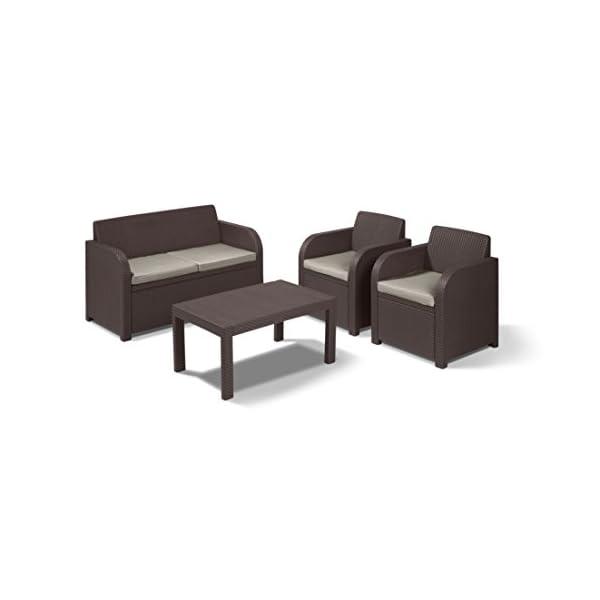 Keter Rattan Style 3 Drawer Cart.Keter Carolina 4 Seater Lounge Set Outdoor Garden Furniture Resmey