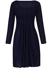 Kleider Damen Pullover Kleid Bluse Elegant Lose Langarm Einfaches Beiläufiges Strickkleid Viskose Jersey Stretch Skaterkleid, Große Größe Solid Color Rundhalsausschnitt Kleid