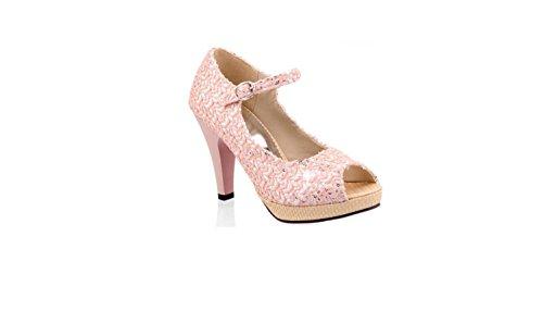 Femmes Mode Talons hauts Été Personnalité Bouche de poisson Des sandales Pink