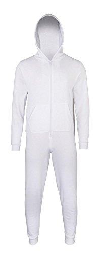 Sofasurfer® Kinder Overall Sweatoverall Jumpsuit Hausanzug mit und ohne Druck , Farbe:WHITE, Größe:7/8 (Overall Kapuzen-kinder)