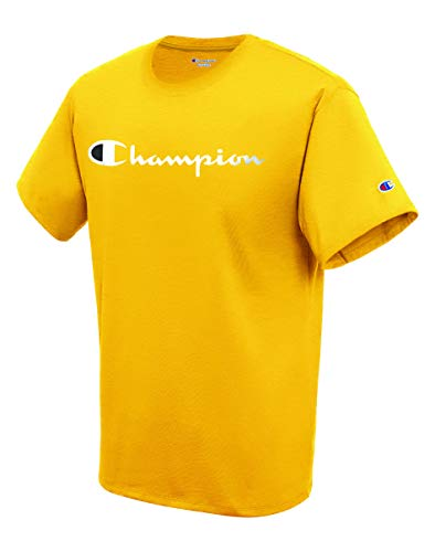 Champion Herren Classic Jersey Script T-Shirt, Team Gold, Groß - Shorts Junior Boxer