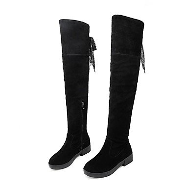 113b4d673de72 Rtry Femmes Chaussures Nubuck Cuir Automne Hiver Mode Bottes Chunky Talon  Bout Rond Bottes Cuisse-