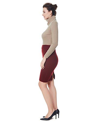 Kenancy Damen Casual Bleistiftrock Strick Winter Hohe Taile Minirock Business Schlank Röcke mit Schlitz in Mehreren Farben Weinrot