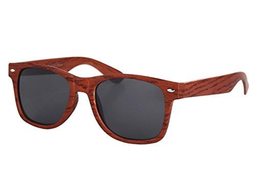 Alsino Sonnenbrille mit Holzbügel Nerdbrille Holzoptik Holzlook, wählen:V-1243-3