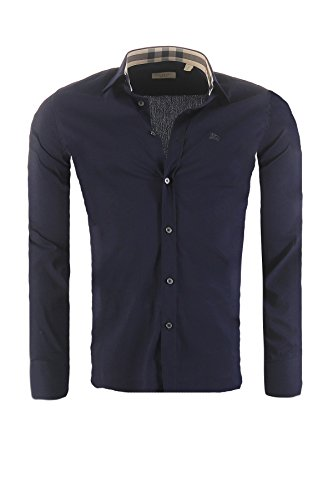 Camicia burberry brit mens slim fit, in diversi colori, dimensione:s, colore:dunkelblau