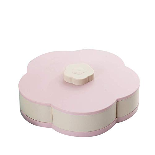 Fishyu Snack Box Candy Dish Petal Rotating Dried Fruit Plate Snacks Storage Tray for Christmas Party Flower Candy Dish
