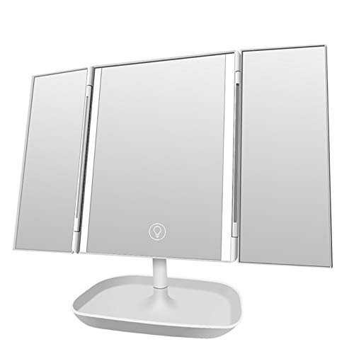Espejo de Maquillaje de sobremesa Triple Plegable con Luces LED, Espejo de tocador cosmético Iluminado...