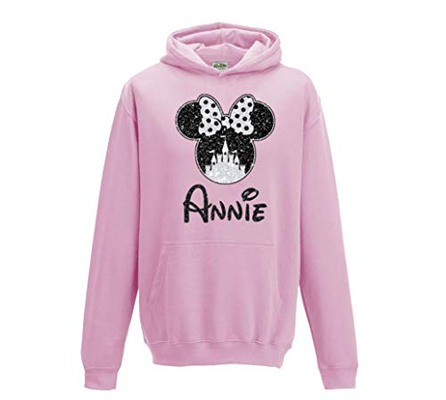 Girls Personalised Minnie Castle Hoodie - Printed in Beautiful Glitter for Kids and Adults