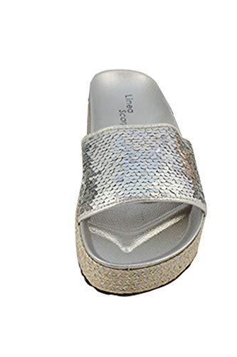 Linea Scarpa Pantolette Lucca mit Pailetten Silber Gr.41