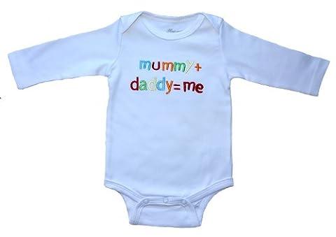 Fab4babystars Mummy+Daddy=Me, Size 3-6 Months, 100% Cotton, White Baby Long Sleeve Bodysuit, Beautiful