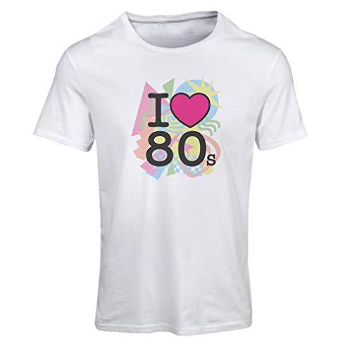 lepni.me Frauen T-Shirt Ich Liebe 80er Jahre alte Rockband, Rock and Roll (Large Weiß Mehrfarben) (Damen Musik T-shirt Ringer)