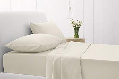 MONIKA HOMES Bettwäsche-Set aus 100% ägyptischer Baumwolle, Fadenzahl 1000, 4-teilig, Elfenbeinfarben (1000 Tc Blatt)