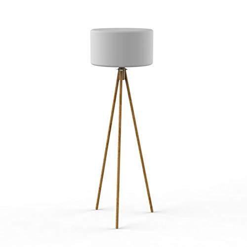 Chloe - Lámpara de pie de exterior con trípode LED RGB solar inalámbrica (madera y polietileno, 140 cm de alto), color blanco