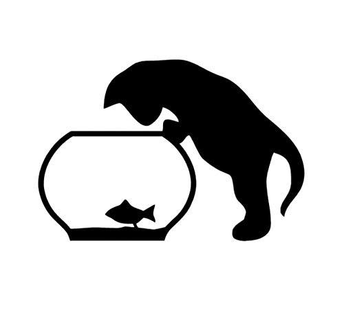 15,1 CM * 10,3 CM Auto Aufkleber Vinyl Aufkleber Kitty Und Fisch im Aquarium Schwarz/Silber 5PCS -
