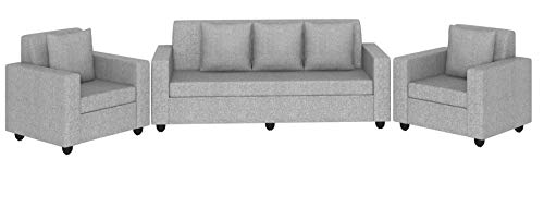 Bharat Lifestyle Lexus Fabric 5 Seater Sofa Set (Light Grey)