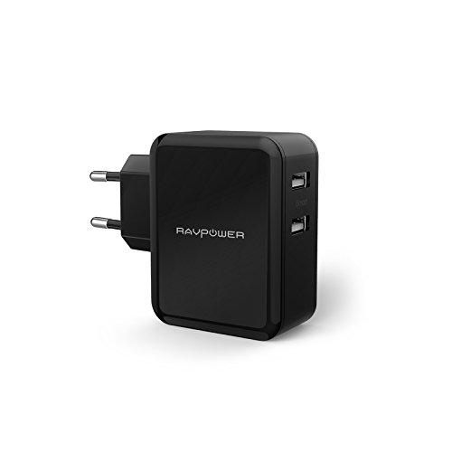 RAVPower 2-Port 24W USB Ladegerät Gesamt 4,8A Reise Adapter Ladeadapter Ladestecker Netzteil mit iSmart Technologie für Smartphones Tablets usw. Schwarz