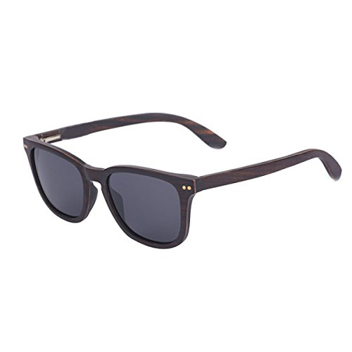 HAOYUXIANG Mode Vintage Holzrahmen Polarisierte Sonnenbrillen,Brown