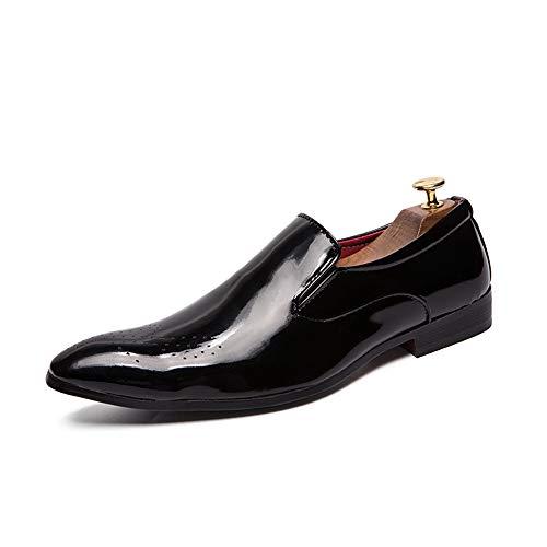 YIJIAN-SHOES Herren Oxford Schuhe Herren Business Stilvolle Bequeme Oxfords Casual Runde Zehe Slip auf Low Heel Carving Brogue Lackleder Freizeitschuhe Kleid Oxford Schuhe Low Heel Slip