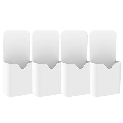 MoKo Magnetisch Markerhalterung, 4 Stück Stift/Bleistift/Magnete/Marker Ablage Whiteboard Stifthalter Zubehörhalter Organizer für Zuhause, Kühlschrank, Schließfach, Magnetische Oberflächen - Weiß