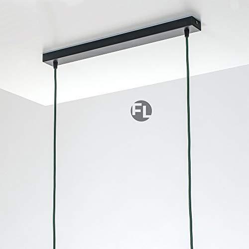 Flairlux Baldachin rechteckig Lampe 2 flammig schwarz Metall Lampenbaldachin rechteckig zum Bau von Deckenleuchten | Lampe für Esstisch | Lampenaufhängung Lampenzubehör DIY | L 50 x B 5 x H 2,5 H/l Lampe