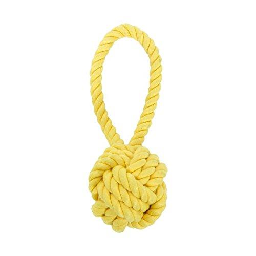 Juguete mordedor para perros Nobleza, con nudo de diámetro 7,62 cm y cuerda tirador color amarillo, largo 20,32 cm