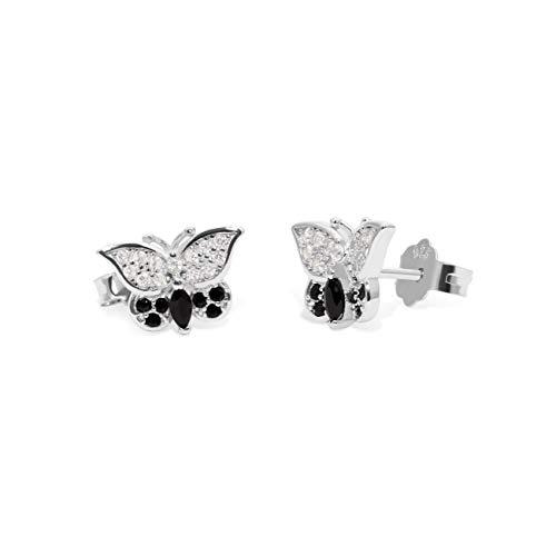Schmetterling-Ohrstecker aus echtem 925 Sterlingsilber mit hochwertigen Zirkoniasteinen