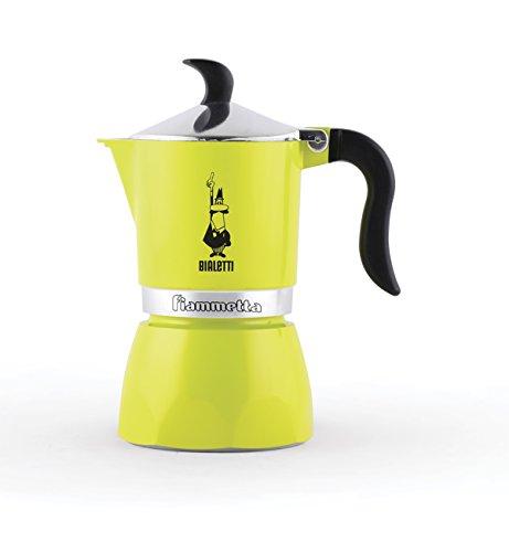Bialetti 0004791 moka fiammetta, caffettiera espresso, alluminio, lime fluo, 1 tazza