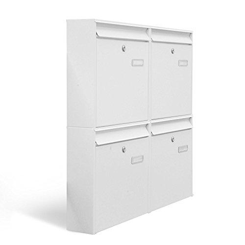 BANJADO Briefkastenanlage 4 fach/Stahl weiß mit 4 Briefkästen/72,4 x 64,4 x 10cm/inklusive Namensschild/Wandmontage (Stahl 4 Fach)