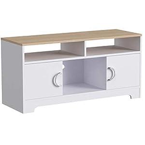 VASAGLE TV-Schrank, Fernsehschrank, Lowboard, Wohnzimmer, Schlafzimmer, einfacher Aufbau, mit Melaminbeschichtung, einfach zu reinigen, 105 x 42 x 52 cm, Weiß-Natur LTC03WN