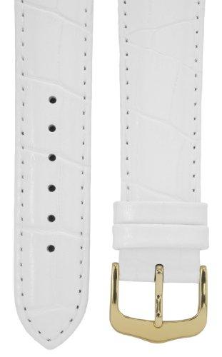 Uhrenarmband 21 mm Leder weiß, Kroko-Optik, Länge 75x115mm, Aluminium IP gold-Dornschließe