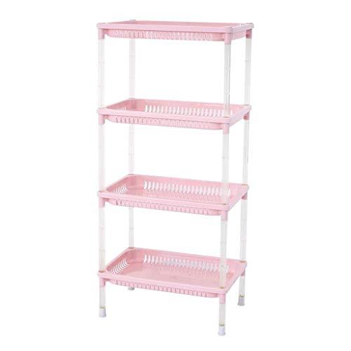 ZALIANG Stand-Badregal, 4-lagiges Kunststoff-Tischregal (Color : Pink, Size : 87.5cm)