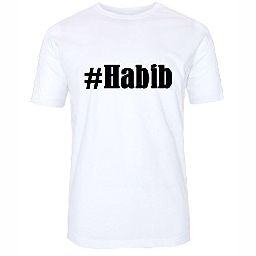T-Shirt #Habib Hashtag Raute für Damen Herren und Kinder ... in den Farben Schwarz und Weiss Weiß