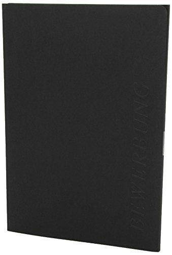 Exacompta 49701B Bewerbungsmappe (vertikale Prägung, 3-teilig mit 2 Klemmschienen Kapazität, 30 Blatt, aus Manila-Leinen-Karton, 400 g, Nature Future, DIN A4) schwarz