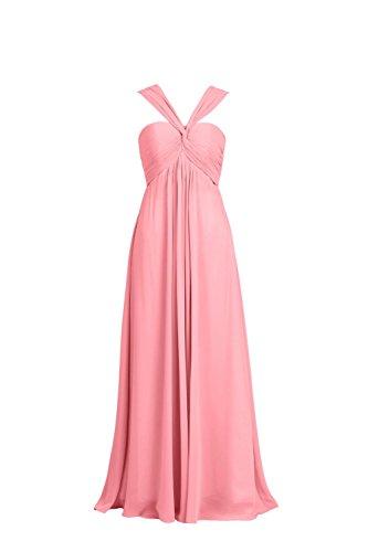 YiYaDawn Langes Elgantes Brautjungfernkleid Cocktailkleid Abendkleid für Damen Koralle