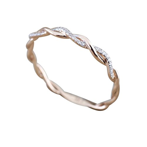 Ringe Cocktail Kostüm - Frauen Engagement Hochzeit Ringe Mingfa 2018 Fashion gedrehte Form Diamant Band Ring Party Cocktail Hochzeit Schmuck, Legierung, Rose Gold, 7